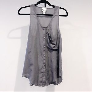 Gray Reiss Tank with Pocket and Silver Buttons